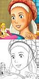 Cartoon fairy tale scene - coloring illustration Royalty Free Stock Photography
