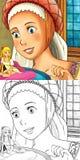 Cartoon fairy tale scene - coloring illustration Royalty Free Stock Photo