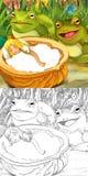 Cartoon fairy tale scene - coloring illustration Royalty Free Stock Photos