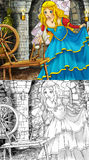 Cartoon fairy tale scene - coloring page Stock Images