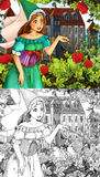 Cartoon fairy tale scene - coloring page Royalty Free Stock Photography
