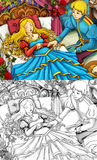Cartoon fairy tale scene - coloring page Royalty Free Stock Image
