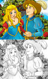 Cartoon fairy tale scene - coloring page. Beautiful coloring illustration with preview for the children royalty free illustration