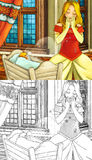 Cartoon fairy tale scene - coloring page Royalty Free Stock Photos