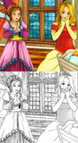 Cartoon fairy tale scene - coloring page. Beautiful coloring illustration with preview for the children stock illustration