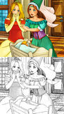 Cartoon fairy tale scene - coloring page Stock Photo