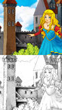 Cartoon fairy tale scene - coloring page Stock Image