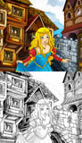 Cartoon fairy tale scene - coloring page Royalty Free Stock Photo