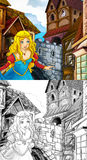 Cartoon fairy tale scene - coloring page Royalty Free Stock Images