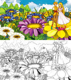 Cartoon fairy tale scene - coloring page - illustration for the children Stock Photo