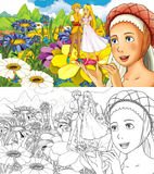 Cartoon fairy tale scene - coloring page - illustration for the children Royalty Free Stock Image