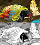Cartoon fairy tale scene - coloring page - illustration for the children Stock Photos