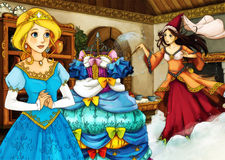 Cartoon fairy tale scene for different stories Stock Image