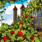 Cartoon fairy tale scene - garden and castle Stock Photo