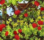 Cartoon fairy tale scene - garden and castle Stock Photography