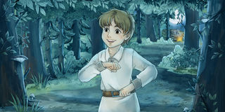 Cartoon fairy tale scene Royalty Free Stock Photo