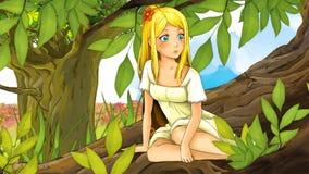 Cartoon fairy tale scene - illustration for the children Stock Photography