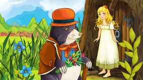 Cartoon fairy tale scene - illustration for the children Royalty Free Stock Images