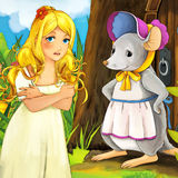 Cartoon fairy tale scene - illustration for the children Stock Image