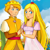 Cartoon fairy tale scene - illustration for the children Stock Photos