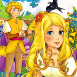 Cartoon fairy tale scene - illustration for the children Royalty Free Stock Photography