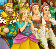 Cartoon fairy tale scene - king queen and servants Royalty Free Stock Photography
