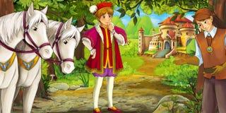 Cartoon fairy tale scene - man visiting castle Stock Photo