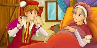 Cartoon fairy tale scene - man visiting mother Stock Photos