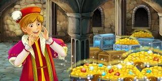 Cartoon fairy tale scene - man visiting treasury Stock Images