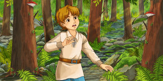 Cartoon fairy tale scene - man in the wood Stock Images