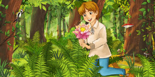 Cartoon fairy tale scene - man in the wood stock illustration