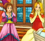 Cartoon fairy tale scene - medieval - mother with child Royalty Free Stock Image