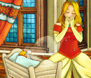 Cartoon fairy tale scene - medieval - mother with child Stock Photos