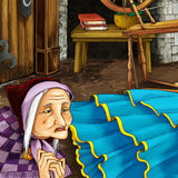 Cartoon fairy tale scene - old witch Royalty Free Stock Photo