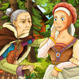 Cartoon fairy tale scene old woman and young girl Royalty Free Stock Photo