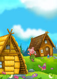 Cartoon fairy tale scene with pig having fun Royalty Free Stock Image