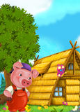 Cartoon fairy tale scene with pig working on its house Stock Photos