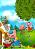 Cartoon fairy tale scene with pigs doing different pigs Royalty Free Stock Photo