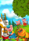 Cartoon fairy tale scene with pigs doing different pigs Royalty Free Stock Photos