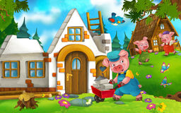 Cartoon fairy tale scene with pigs doing different pigs Stock Photos