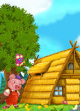 Cartoon fairy tale scene with pigs doing different things Royalty Free Stock Images