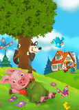 Cartoon fairy tale scene with pigs doing different things Royalty Free Stock Photo