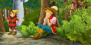 Cartoon fairy tale scene with prince encountering hidden tower and dwarf Stock Photo