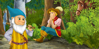 Cartoon fairy tale scene with prince encountering hidden tower and dwarf Stock Images