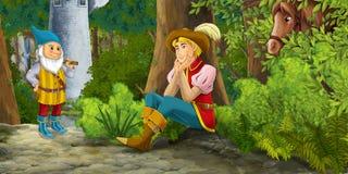 Cartoon fairy tale scene with prince encountering hidden tower and dwarf Stock Photos