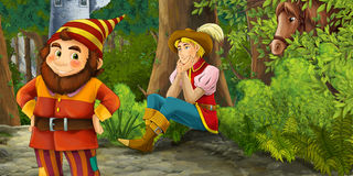 Cartoon fairy tale scene with prince encountering hidden tower and dwarf Royalty Free Stock Photography