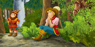 Cartoon fairy tale scene with prince encountering hidden tower and dwarf Royalty Free Stock Photo