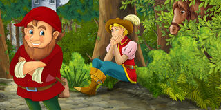 Cartoon fairy tale scene with prince encountering hidden tower and dwarf Stock Photography