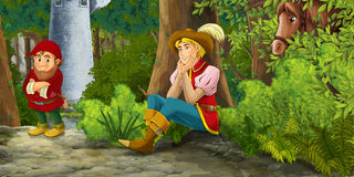 Cartoon fairy tale scene with prince encountering hidden tower and dwarf Stock Image