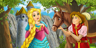 Cartoon fairy tale scene with prince encountering hidden tower and princess Stock Photography